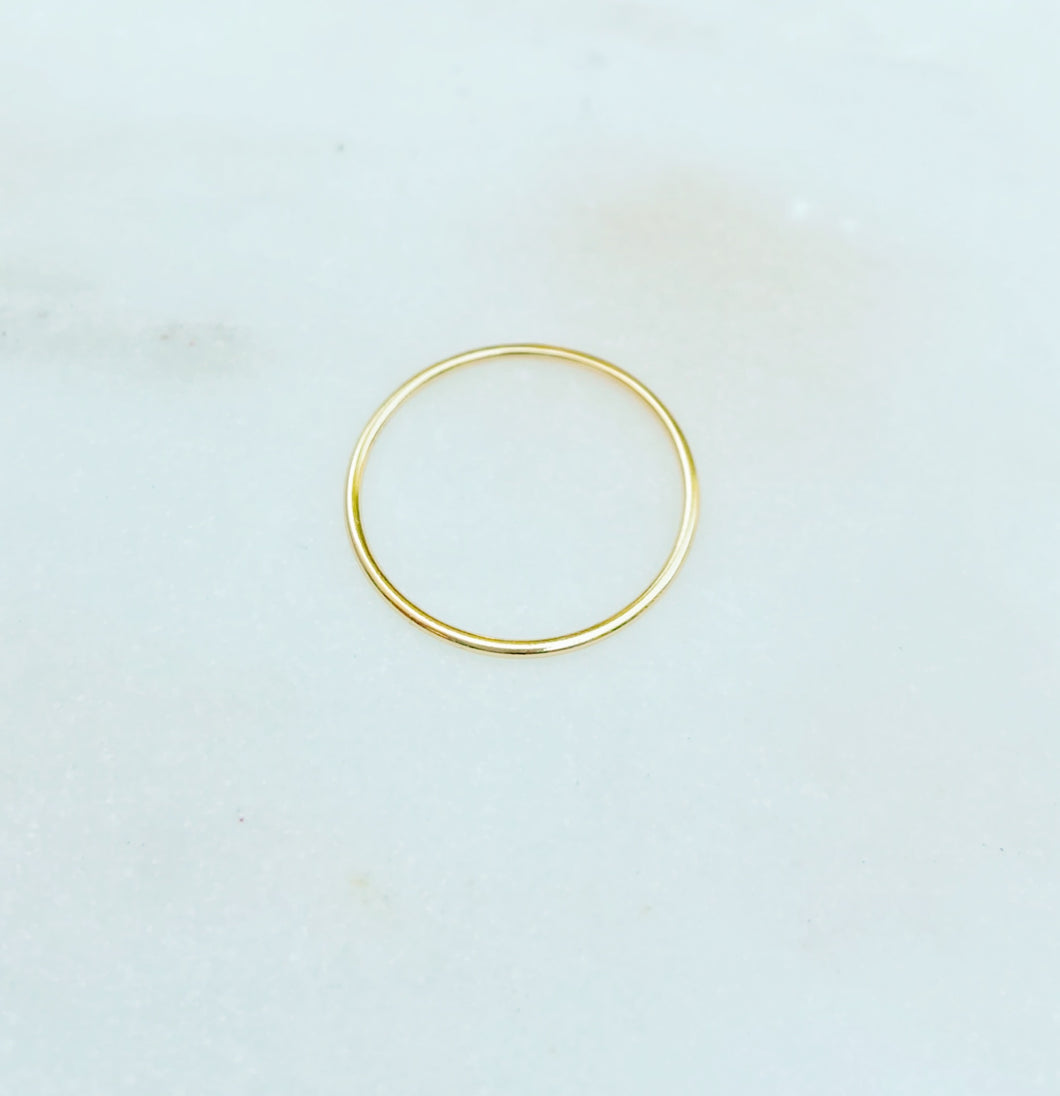 Sterling Silver Gold Plated Dainty Plain Band Ring