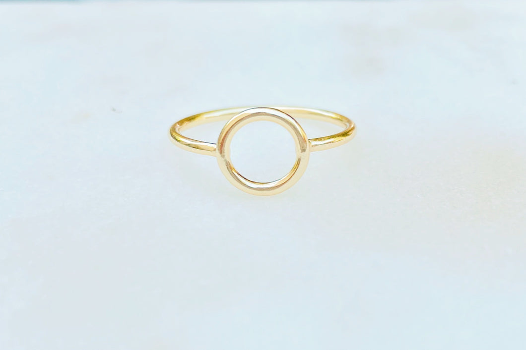 Sterling Silver Gold Plated  Dainty Circle of Life Ring