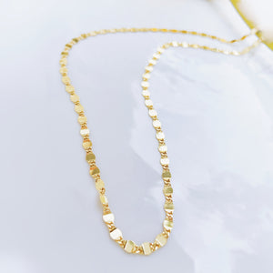 Sterling Silver Gold Plated Long Shimmy Layering Necklace, 30in