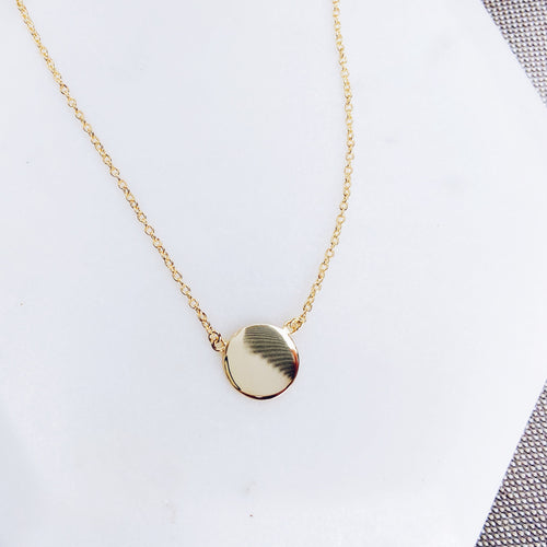 Sterling Silver Gold Circle Disc Minimal Necklace