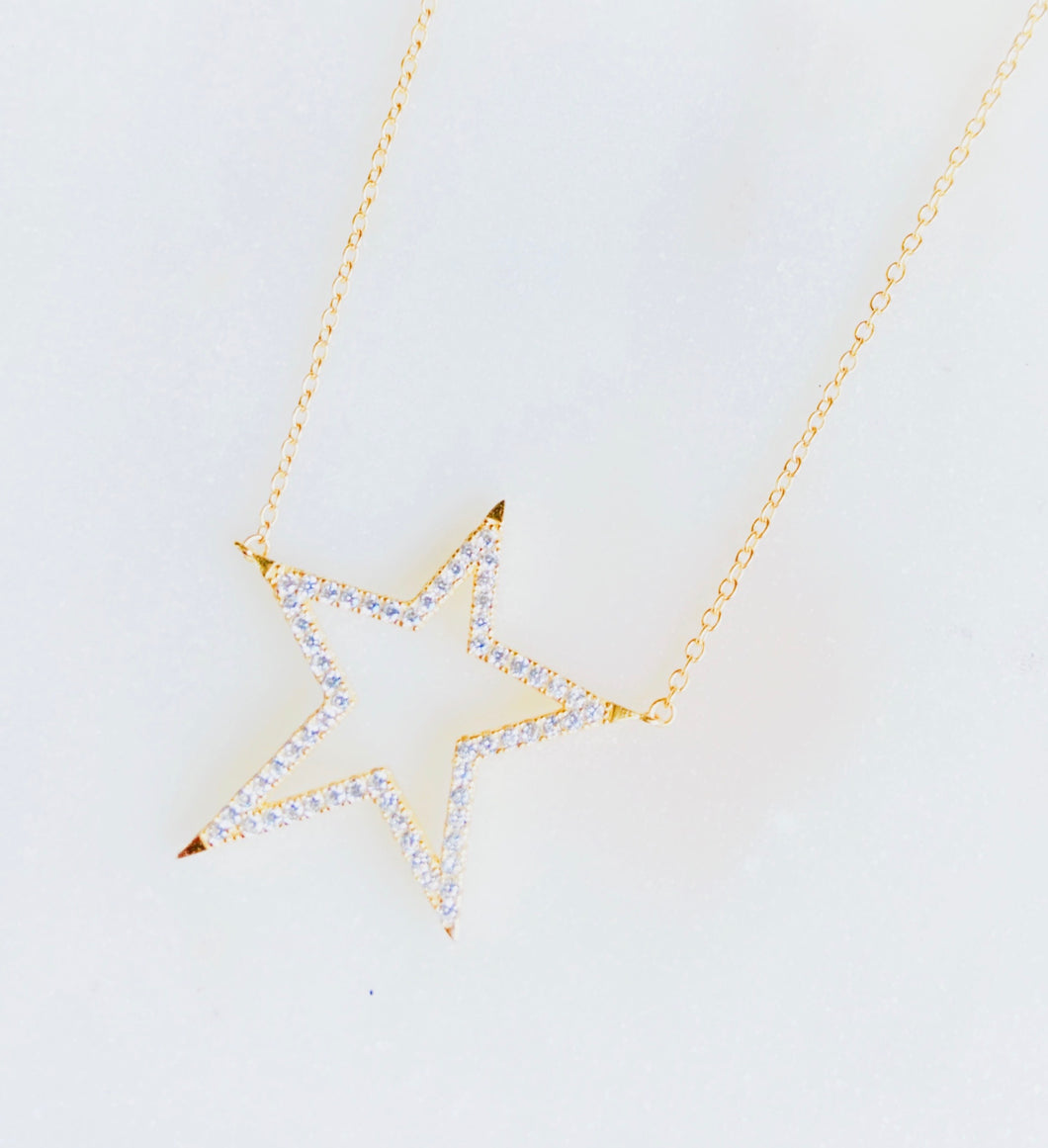 Sterling Silver Gold Plated Big Star Necklace