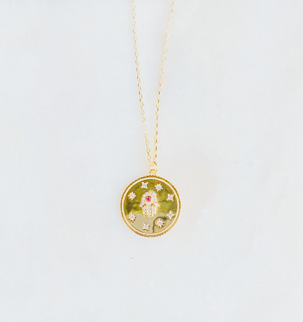 Sterling Silver Gold Plated Hamsa Your Protector Medallion Necklace