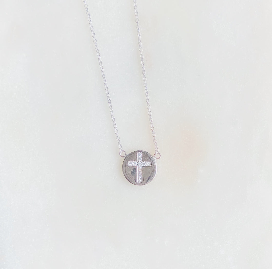 Sterling Silver Faith Medal Necklace