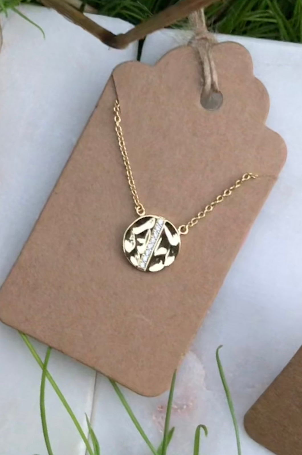 Wavy Circle with CZ Center Necklace