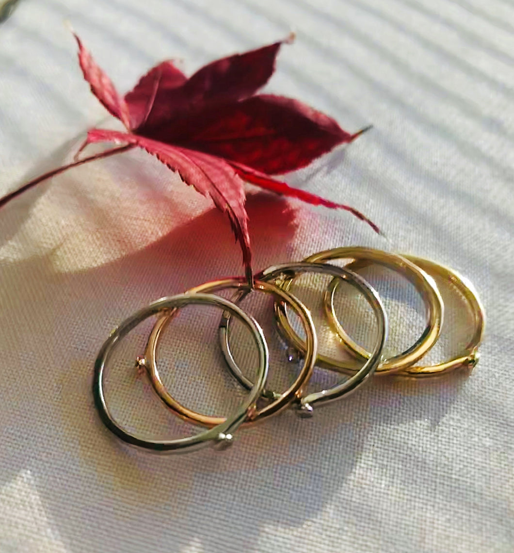 5 RING STACK ALL STERLING SILVER ROSE GOLD AND GOLD PLATED