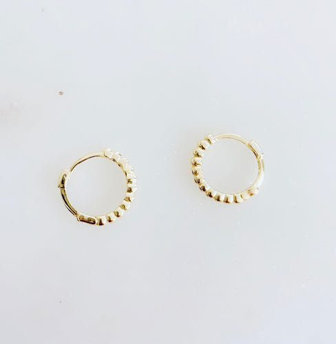 Sterling Silver Gold Plated Mini Bead Huggie Hoops