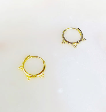 Sterling Silver Gold Plated Small Tres Hoops