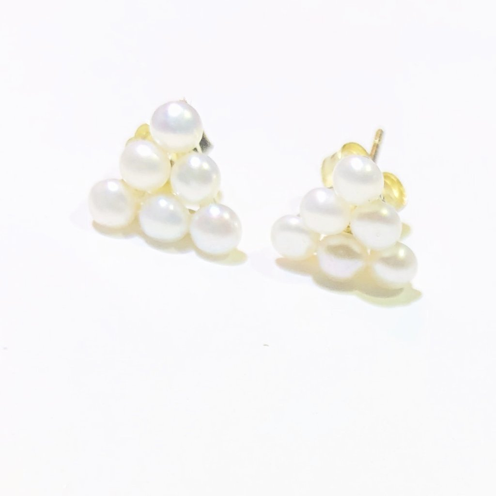 Sterling Silver Gold Plated Natural Pearl Trifecta Stud Earrings