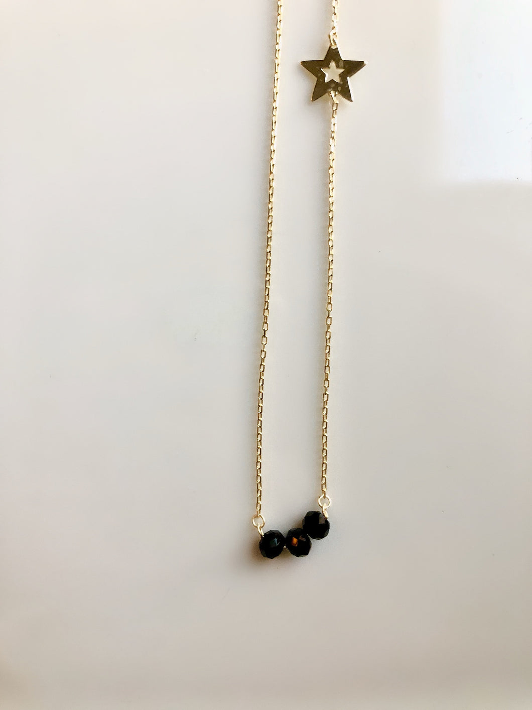 Sterling Silver Gold Plated Black Bead with a Star Necklace Choker