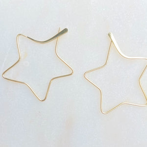 Sterling Silver Gold Plated Mega Star Hoop Earrings
