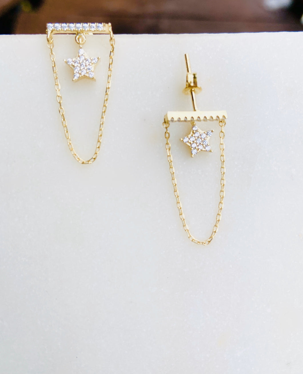 Sterling Silver Gold Plated Bar and Chain Star Earrings