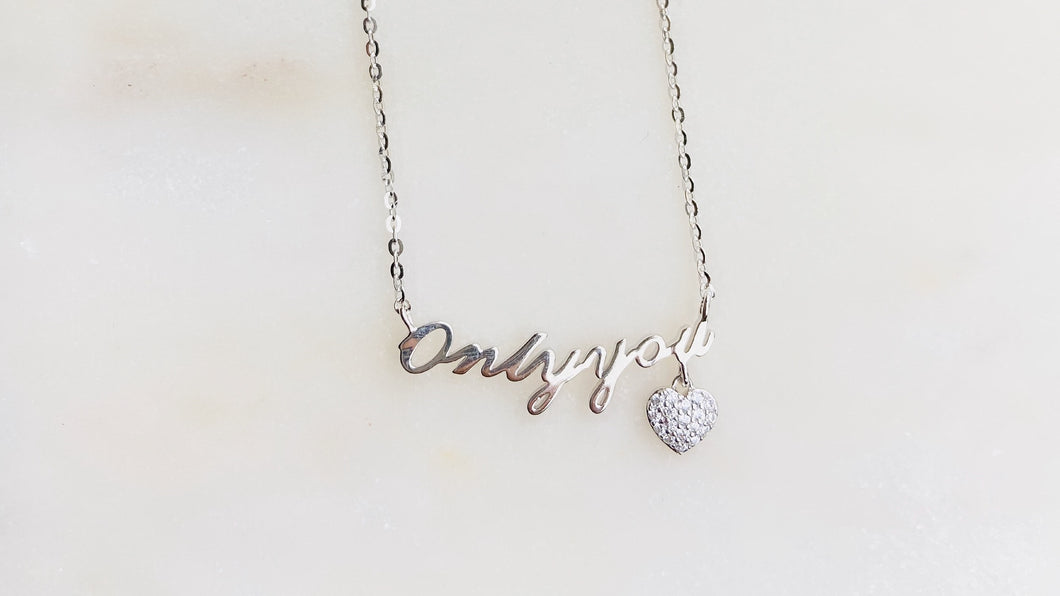 925 Sterling Silver Only You CZ Necklace