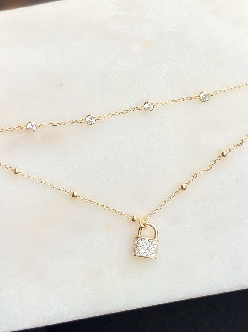 Sterling Silver Gold Plated Gold Bead Double Chain Lock Necklace