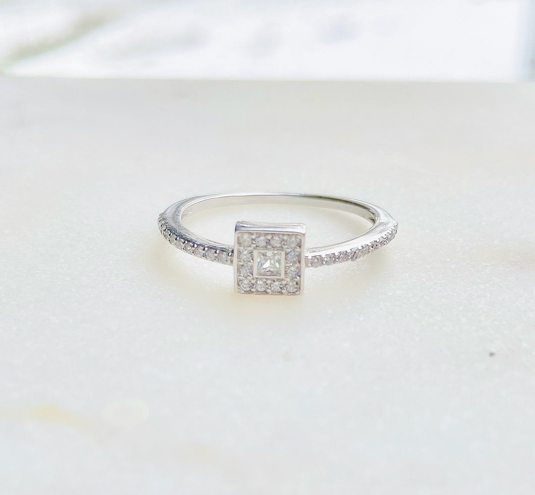 Sterling Silver Vintage Style Romance CZ Ring