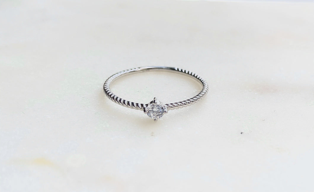 Sterling Silver Classic Mini CZ Rope Solitaire Ring