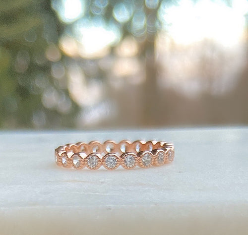 Sterling Silver Rose Gold Plated Bezeled Milgrain CZ Eternity Ring