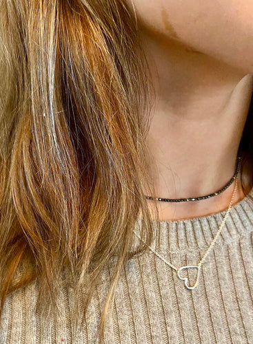 Sterling Silver Single Strand Hematite Choker
