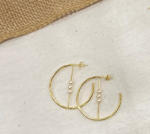 Sterling Silver Gold Plated Delicate Pearl Half Hoop - Yellow Gold Plated