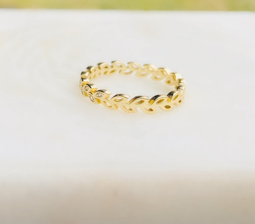Sterling Silver with Cubic Zirconia Gold Plated Leaf Eternity Band