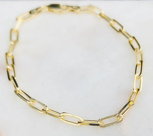 Sterling Silver Gold Plated Link Chain Bracelet