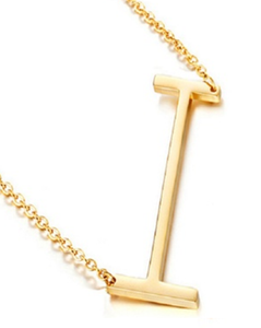 Be Bold Silver/Gold Tone Block Letter Necklace - I