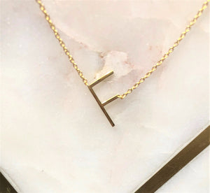 Sterling Silver 14K Gold Plated Your Initial Letter - F