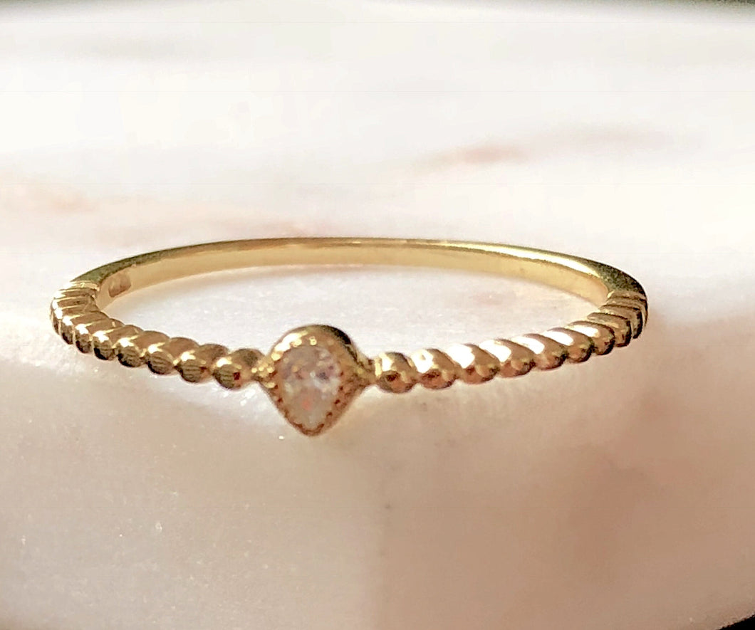 Petite Gold Pear Shape Ring
