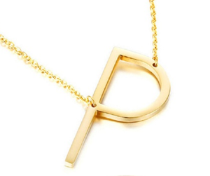 Be Bold Silver/Gold Tone Block Letter Necklace - P