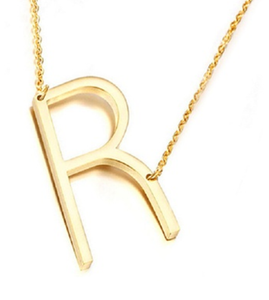 Be Bold Silver/Gold Tone Block Letter Necklace - R