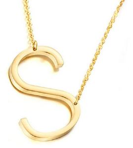 Be Bold Silver/Gold Tone Block Letter Necklace - S