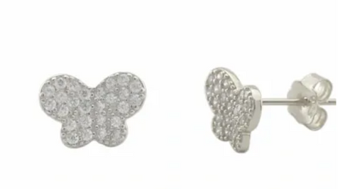 The Butterfly Mariposa Sterling Silver and CZ Stud Earrings