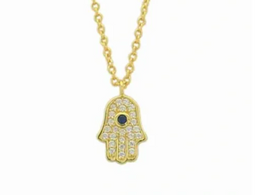 Sterling Silver 14K Gold Plated Hamsa Necklace with Blue Cubic Zirconia Stone