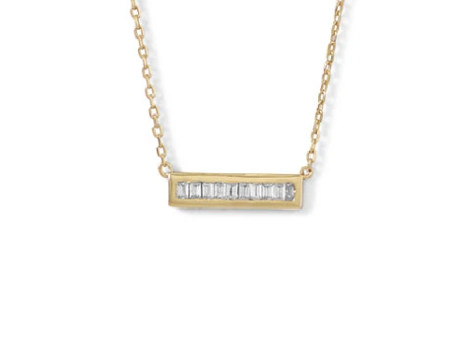 Mini CZ Sterling SIlver Gold Plated Necklace