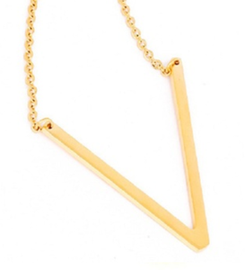Be Bold Silver/Gold Tone Block Letter Necklace - V