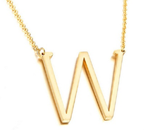 Load image into Gallery viewer, Be Bold Silver/Gold Tone Block Letter Necklace - W