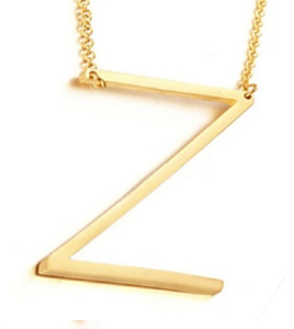 Be Bold Silver/Gold Tone Block Letter Necklace - Z
