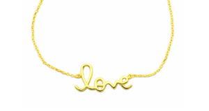 925 Sterling Silver Love Me Necklace - Gold Tone