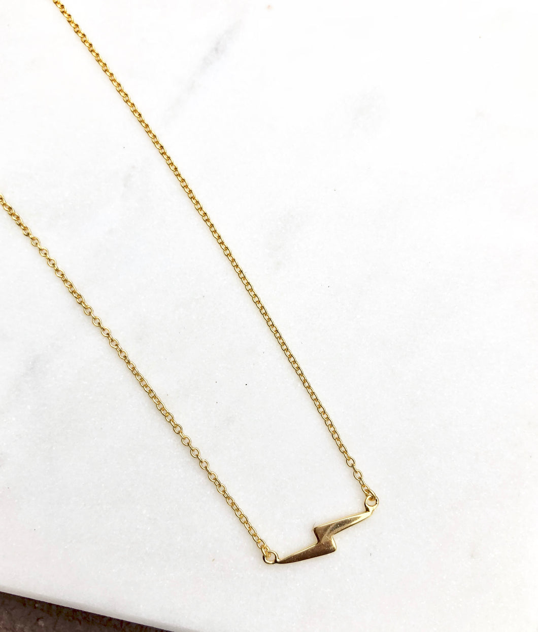 925 Sterling Silver Gold Plated Bolt Necklace