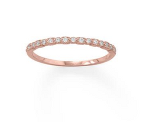 Sterling Silver/14 Karat Rose Gold Plated Petite and Stackable Shimmer Ring