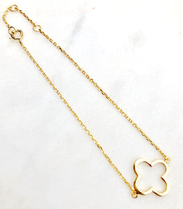 925 Sterling Silver Gold Plated Clover Bracelet