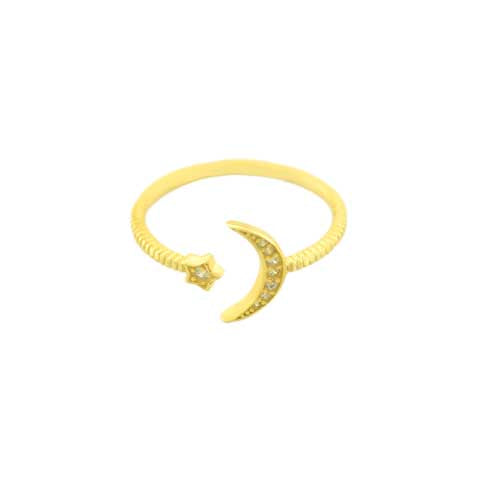 Crescent Moon Pave Ring