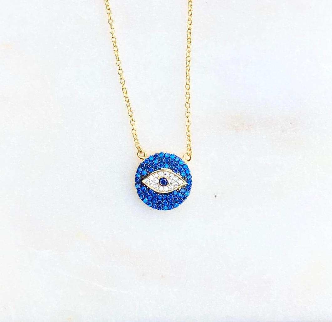 Gold Plated Blue Evil Eye Disc Necklace