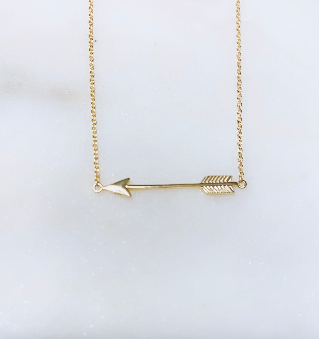 Sterling Silver Gold Plated She Arrow Necklace