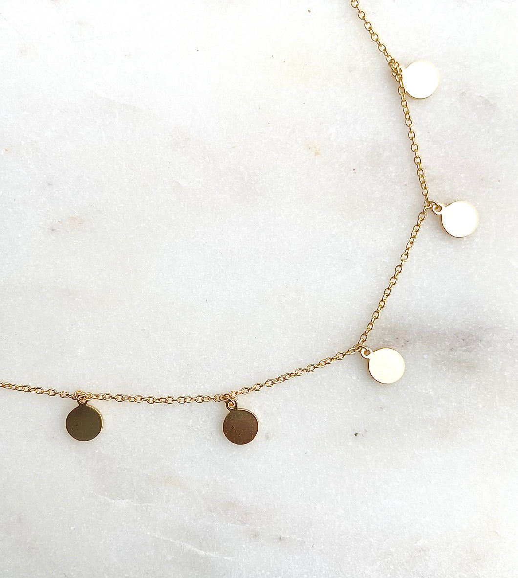 Sterling Silver Gold Plated Rocker Disc Choker