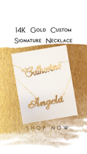 Load image into Gallery viewer, Custom Made 14K Gold Nameplate Necklace