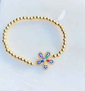 Charming Colors Flower Brass Stretch Bracelet with CZ Stones