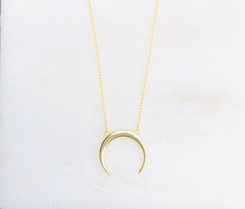 Gold Plated Mega Crescent Moon Necklace