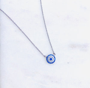 Sterling Silver Blue Evil Eye Circle Necklace