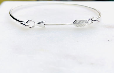 Sterling Silver Never A Straight Path Arrow Bangle