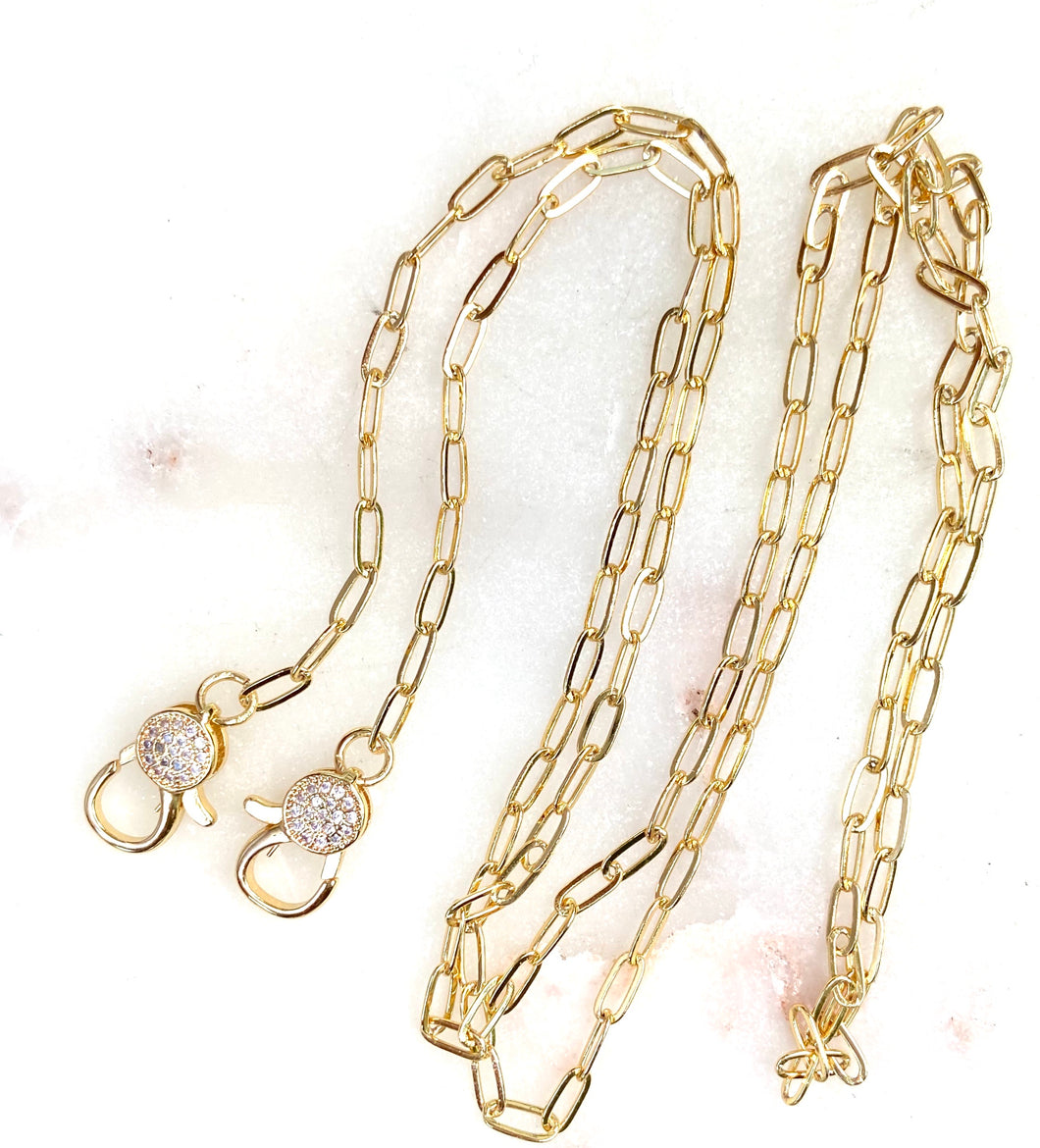 paper clip link chain  with cz stones on clasp for your mask